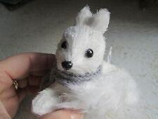 Snow Fox Winter White Christmas Ornament Grey Scarf Straw Body Furry Tail Pier 1