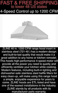 "FREE SHIPPING ZLINE 1200 CFM 40"" Ducted Cabinet Insert Range Hood w/LED Lighting"