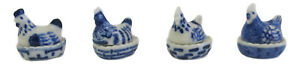Set 4 Blue & White Chickens Hens on Nest Pots Approx 1.75cm High (Tiny)