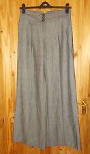 M&S grey black striped LINEN blend summer holiday wide leg trousers pants 12L 40