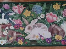 BUNNIES IN GARDEN PLAYING AROUND HOW SWEET Wallpaper bordeR Wall decor