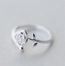 Korean Style Unique Chic Women Girls Sliver Rose Flower Ring Band Adjustable Hot