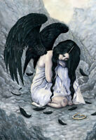 Fantasy PRINT Art Angel gothic Fallen Broken Halo Clouds Black Wings Sad Tears
