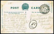 Suffolk PH 1903 postcard to Ipswich, LLandudno CDS, '1d/B47' postpaid hand stamp