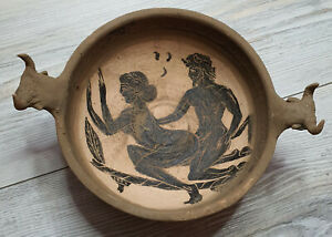 Very Rare Roman Painted Ritual Vessel , Bull handles c 100-300 AD EROTIC SCENE