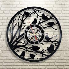 Bird On Tree Handmade Room Decor Retro lp Vinyl Record Wall Clock Large