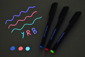 DirectGlow Invisible UV Blacklight Reactive Ink Marker Pen Blue Red Yellow
