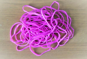 50 Bright PINK Rubber Bands (Elastic Bands Pack of 50)