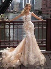 Mermaid Wedding Dress New Champagne Lace Applique Backless Bridal Gowns Custom