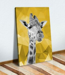 GIRAFFE BLACK AND WHITE YELLOW MUSTARD CANVAS WALL ART PRINT ARTWORK GEO