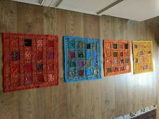 4 culture Rajasthani Indian Wall Hanging Broderie Patchwork Coussin Couvre Barga...
