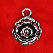 6 x tibetan silver élégant pendentif Fleur Rose Charme Perles faire trouver