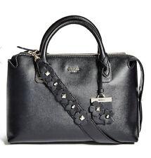 GUESS $118 Liya Satchel carryall Tote Handbag Black w/ flowers