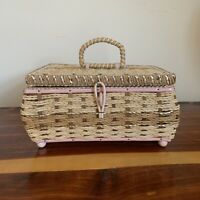 Working Singer Sewing Basket / Music Box - 1950's Vintage Wicker Craft Container
