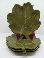 """Tabletops Lifestyles Autumn Leaves Green 9 3/4"""" Leaf Shaped Plate Set Of 4 Plate"""