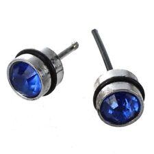Pernos de oreja aretes para hombre guapo Acero inoxidable azul CZ cristal f J3A2