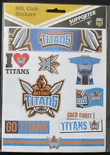 Official NRL Gold Coast Titans Stickers Sticker Sheet 9 Pack Club Team Logo NEW