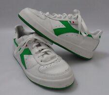 Mens Diadora Borg Elite White Green Leather Trainers Shoes Size 4.5