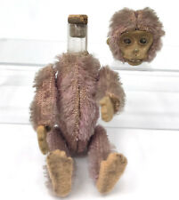 Schuco Perfume Monkey Lavender Mohair Plush Mini 3in Glass Vial Cork c1920s Vtg