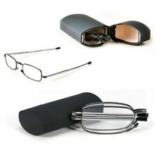 Compact Folding Reading Glasses with Carrying Case Black Frame +1.5 +2.0 Mens