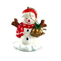 Snowman Christmas Ornament With Red Scarf and Hat and Jingle Bells Vintage