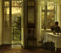 Nice Oil painting carl vilhelm holsoe - Lady at the window in the afternoon art
