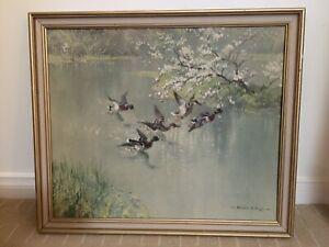 Vernon Ward print retro vintage ducks in flight, framed. Spring flighting