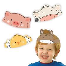8 X Ferme Animal Barnyard Anniversaire Papier Couronnes Masques Chapeau Cheval
