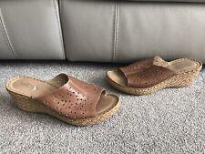 Womens Moshulu tan Wedges, Leather 41 7 summer holiday peep toe open