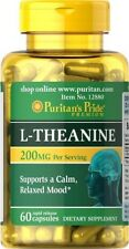 L-THEANINE 200 MGR. 60 CAPS. AMINO ACID HELPS REDUCE ANXIETY
