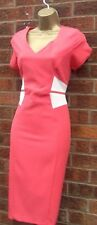 8  50'S VINTAGE STYLE PINK/CREAM PENCIL WIGGLE DRESS