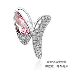ITALINA 18K WHITE GOLD PLATED & GENUINE PINK CUBIC ZIRCONIA BUTTERFLY BROOCH