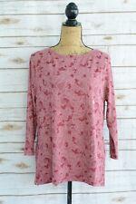 NWT Laura Scott: Rose-maroon textured floral tee 3/4 sleeves, L
