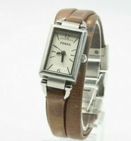 Fossil Women's JR1370 Delaney White Rectangular Dial Leather Watch New Battery