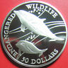 1991 COOK ISLANDS $50 SILVER PROOF HEAVISIDE'S DOLPHIN ENDANGERED WILDLIFE RARE