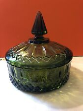 Indiana Glass Princess Pattern Avocado Green Candy Dish with Lid