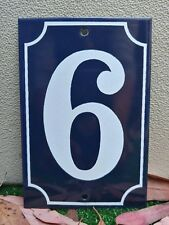 EXCELLENT! VINTAGE FRENCH New Old Stock Enameled Porcelain Number 6 Sign Plate