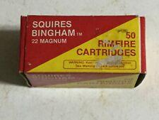 Vintage Empty 22 Magnum Ammo Box Squires-Bingham High Velocity Rimfire Cartridge