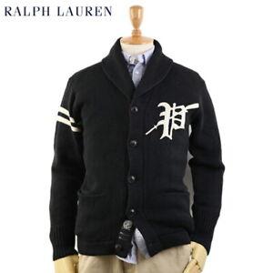 "Polo Ralph Lauren Shawl Cardigan Sweater with ""P"" - Black - Cotton Linen Blend"
