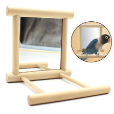 Parrot Bell Mirror Cage Stand Bar Hanging Swing Pet Bird Play Fun Toy Supplies