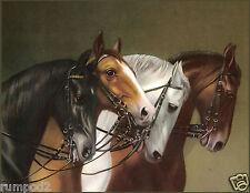 Vintage Horse/Horses/Art Print /Poster/ 17x22 in./German Equestrian Painting