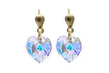 Heart Earrings Yellow Gold Heart Drop Earrings
