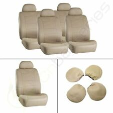 8 pieces Breathable Beige Car Seat Covers w/Headrest Covers For Mercedes-Benz