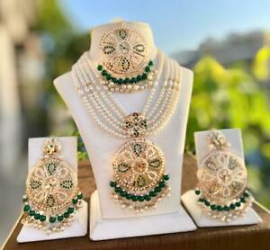 Bollywood Gold Plated Style Indian Pendent Necklace Earrings Tikka Jewelry Set