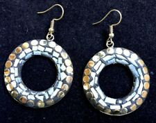 Bohocoho ECCENTRICO Stile Boho Gypsy 70 S GRIGIO CHIARO Mosaico Cerchio Dangle Earrings
