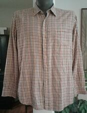 Mens Burberry Plaid Check Button Up Shirt Red Orange L Made in USA