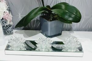 JM by Julien MacDonald Mirrored 3 lotus Crystal flower Candle Holder-great gift