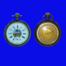 Rare double Baume cadran brevet Phase Lunaire Calendrier Levier Montre de poche 1902