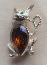Vintage Signed DODDS Silvertone Green Brown Rhinestones CAT Pin Brooch