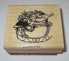 Santa Claus Sleigh Rubber Stamp Toys Stampin' Up Christmas Teddy Bear Drum New